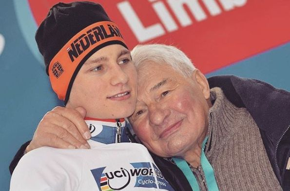 Raymond Poulidor et son petit-fils Mathieu van der