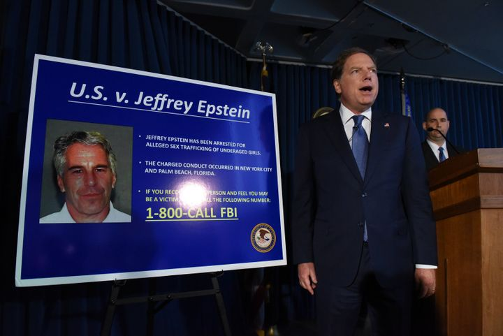 US Attorney Geoffrey Berman announces charges against Jeffrey Epstein on July 8, 2019 in New York City.