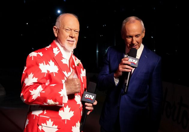Happier times: Don Cherry, left, and Ron MacLean prior to Team Canada taking on Team Czech Republic during...