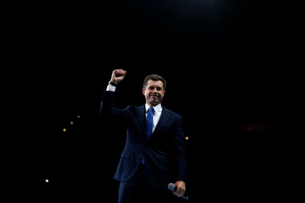 Democratic 2020 U.S. presidential candidate Mayor Pete Buttigieg speaks at a Democratic Party fundraising...