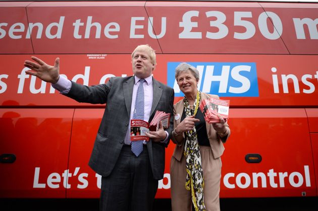 Boris Johnson in front of the infamous bus during the run up to the EU referendum – that cost of...