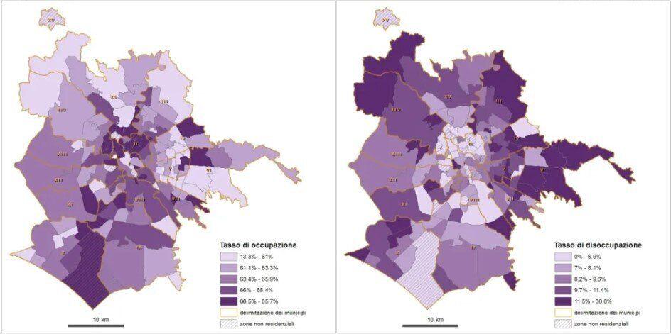 L'occupazione a Roma: nel quadrante est e nel Litorale il maggior