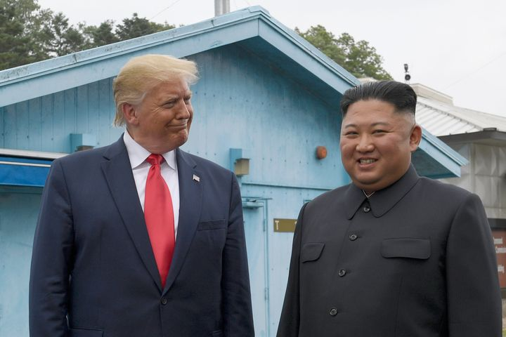 President Donald Trump meets with North Korean leader Kim Jong Un at the border village of Panmunjom in the Demilitarized Zon