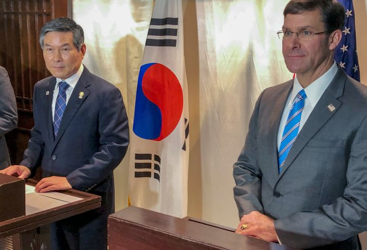 U.S. Defense Secretary Mark Esper, right and South Korea defense Minister Jeong Kyeong-doo, left attend a press conference in
