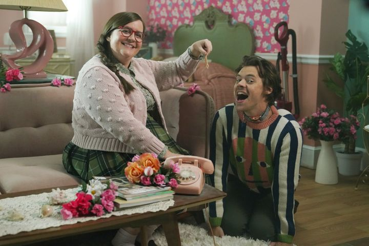 """Aidy Bryant and host Harry Styles during the """"Joan Song"""" sketch on """"Saturday Night Live."""""""