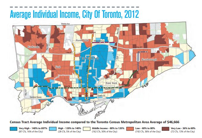 "This map of incomes in Toronto show the wealthy live in an ""upside down T"" that mirrors the city's cubway network and the locations of its shopping high streets."