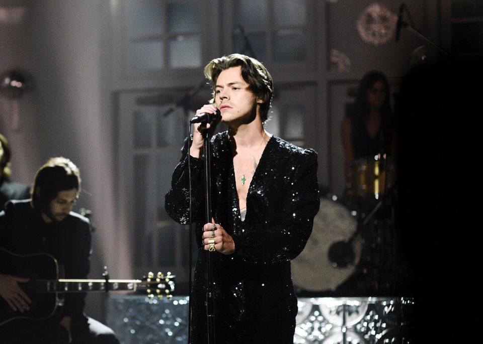 "Musical guest Harry Styles performs ""Lights Up"" on Saturday, Nov. 16, 2019."