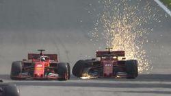 Disastro Ferrari. scontro Leclerc-Vettel in pista, costretti al