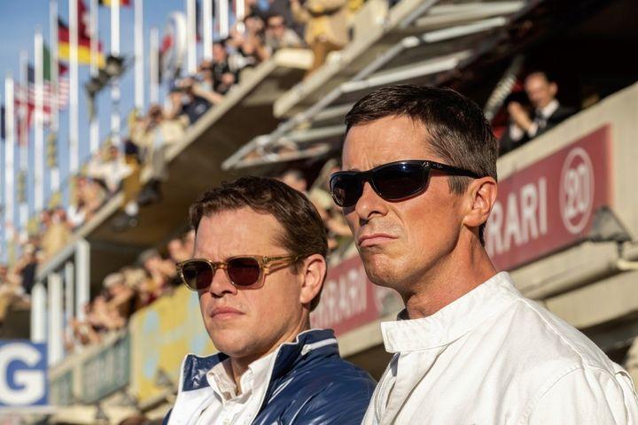 """Christian Bale, right, and Matt Damon in a scene from the film, """"Ford v. Ferrari."""""""