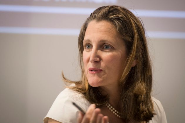 Chrystia Freeland speaks during an election event on Sept. 22,