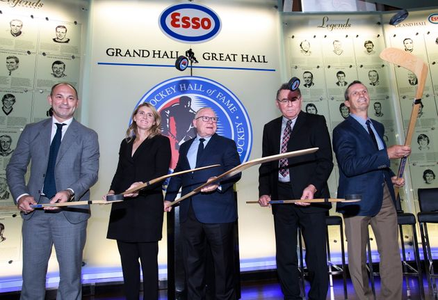 Hockey Hall of Fame inductees Sergei Zubov,left to right, Hayley Wickenheiser, Jim Rutherford, Vaclav...