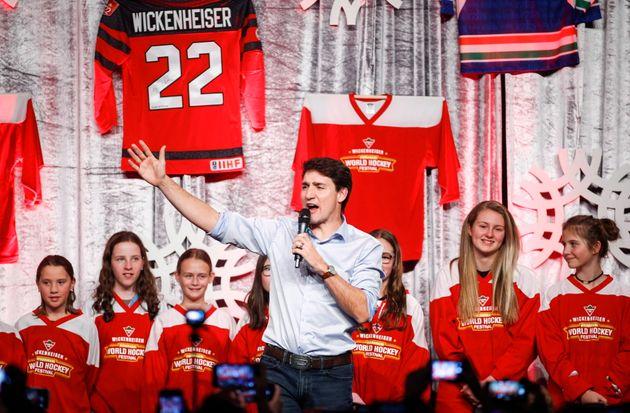 Prime Minister Justin Trudeau attends the Wickenheiser World Female Hockey Festival in Calgary on Nov....
