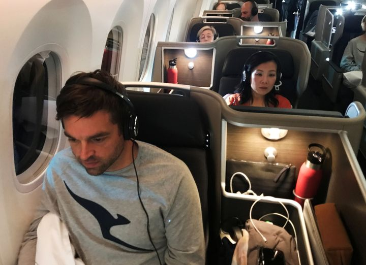 Passengers are seen on board Qantas flight QF7879, flying direct from London to Sydney, November 14, 2019. Picture taken November 14, 2019.   REUTERS/Jill Gralow