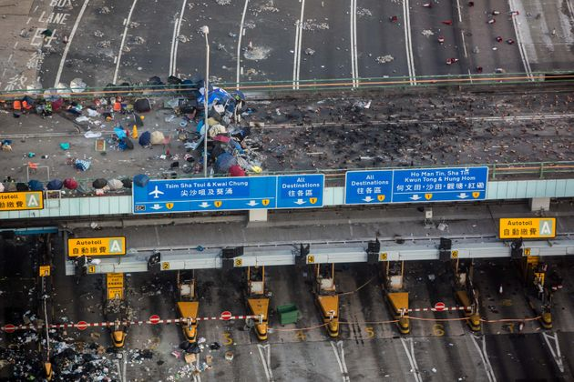 A general view shows a barricade that was the sight of clashes between protesters and police on a bridge...