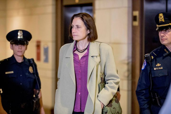 Fiona Hill, the former White House adviser on Russia, arrives at the Capitol on Nov. 4 for a closed-door meeting as part of t