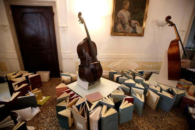 Music books are placed to dry at the first floor of Venice Conservatory after being recovered from the...