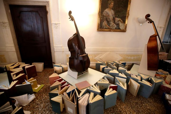 Music books are placed to dry at the first floor of Venice Conservatory after being recovered from the ground floor, on Nov.