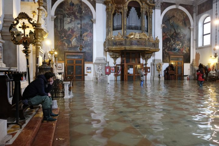 A flooded church is seen during a period of seasonal high water in Venice, Italy, on Nov. 17, 2019.