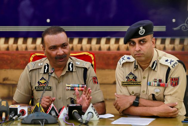 Dilbag Singh, the Jammu and Kashmir director general of police, speaks during a news conference in Srinagar...