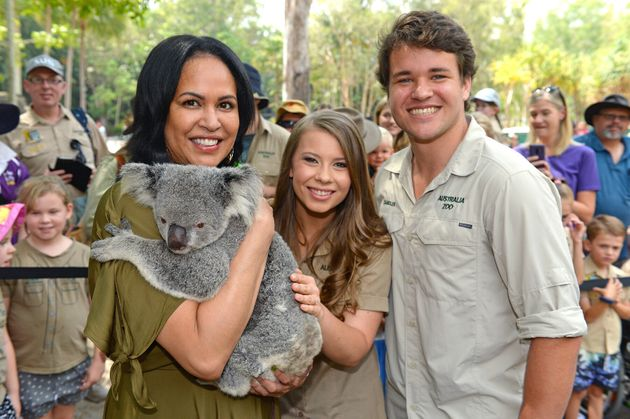 Christine Anu with Bindi Irwin and Chandler Powell at Australia Zoo's Steve Irwin Day on Friday November