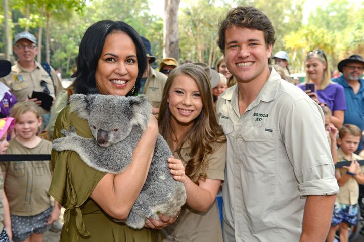 Christine Anu with Bindi Irwin and Chandler Powell at Australia Zoo's Steve Irwin Day on Friday November 15.