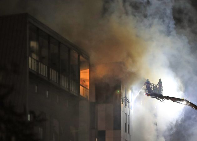 The fire at The Cube building in