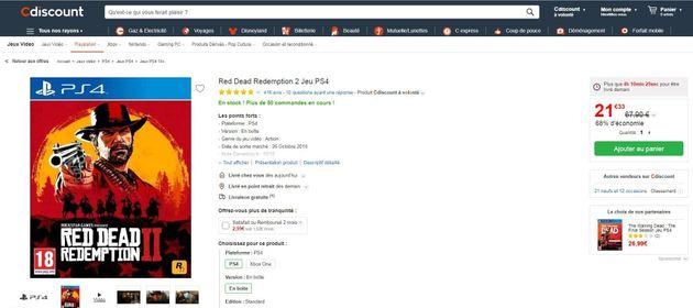 La promo de CDiscount sur Red Dead Redemption 2 s'applique aux versions PS4 et Xbox One du