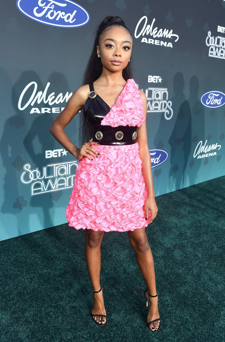 Disney Channel star Skai Jackson parties in pink with a touch of black.