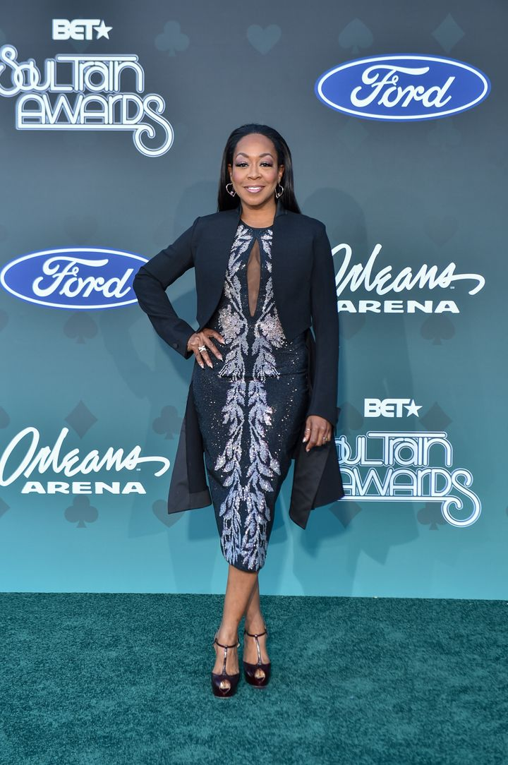 """""""The Neighborhood"""" star Tichina Arnold, one of the Soul Train Awards hosts, gets an E for elegance."""