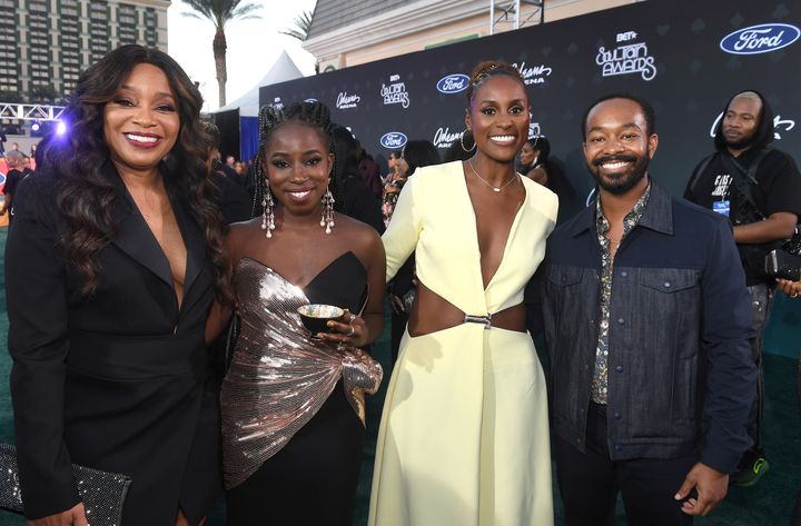 Connie Orlando, TeaMarrr, Issa Rae and Tristen Winger pose for a pre-awards moment at the BET Soul Train Awards in Las Vegas.