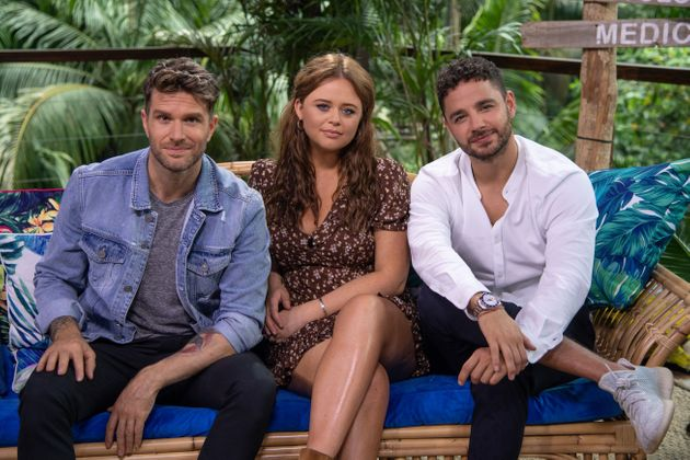 Joel Dommett with Extra Camp co-hosts Emily Atack and Adam