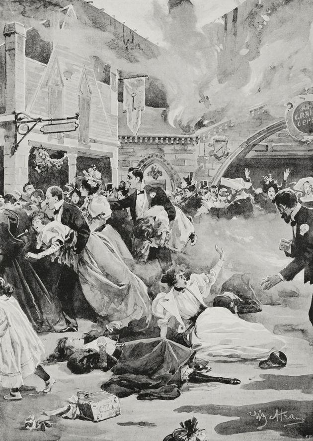 L'artiste Achille Beltrame a immortalisé plusieurs scènes de l'incendie du Bazar de la
