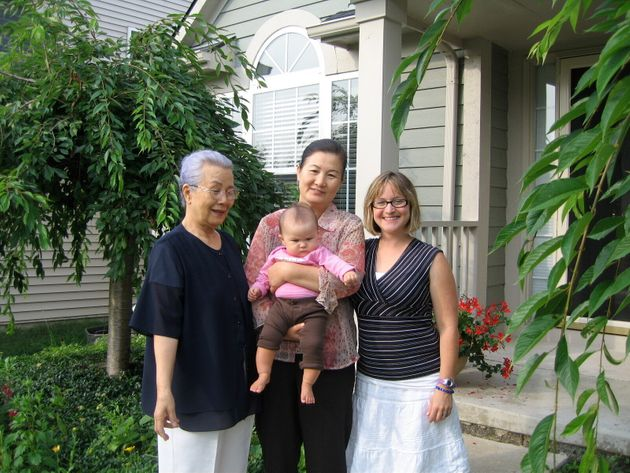 Kendra Stanton Lee (right) with her daughter, Madigan, and Madigan's great-grandmother Myung Namm (far...