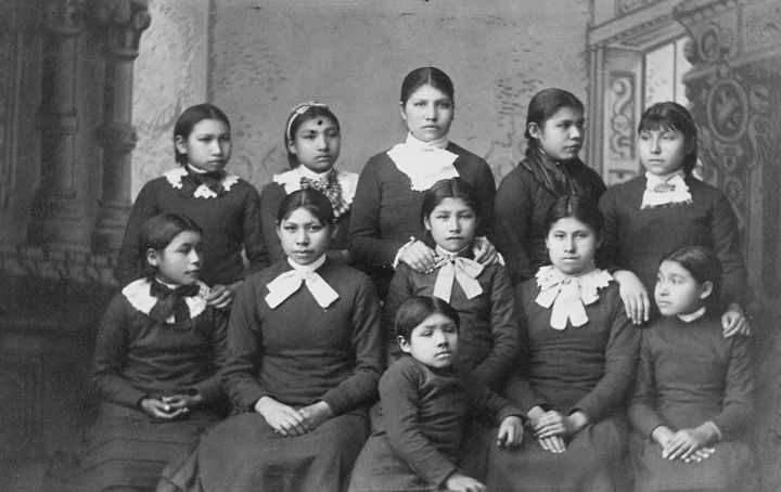 Native American girls from the Omaha tribe at Carlisle School, Pennsylvania.