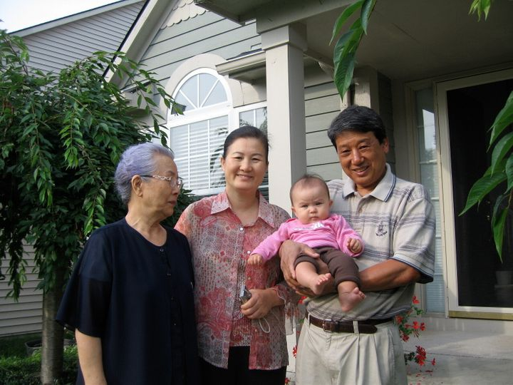 Stanton Lee's daughter, Madigan, with great-grandmother Myung Namm (left), grandmother Mi Ja Lee (center) and grandfather Jai