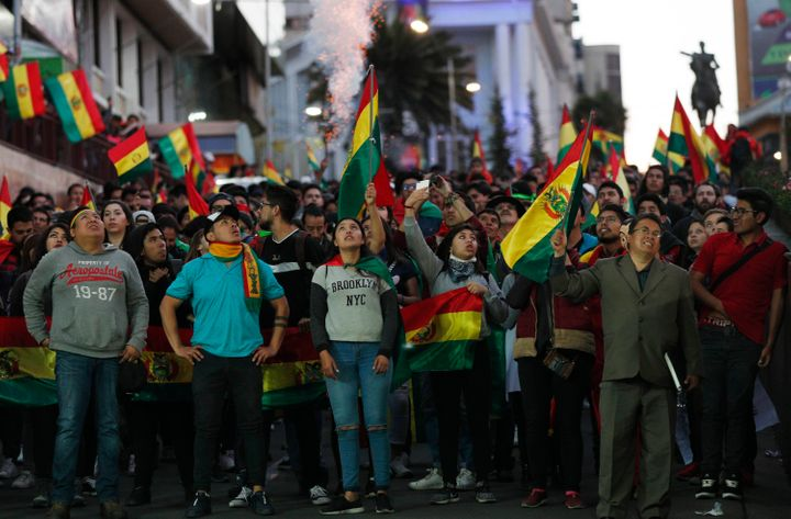 Protesters demand a second-round presidential election in La Paz, Bolivia, on Oct. 26, 2019.