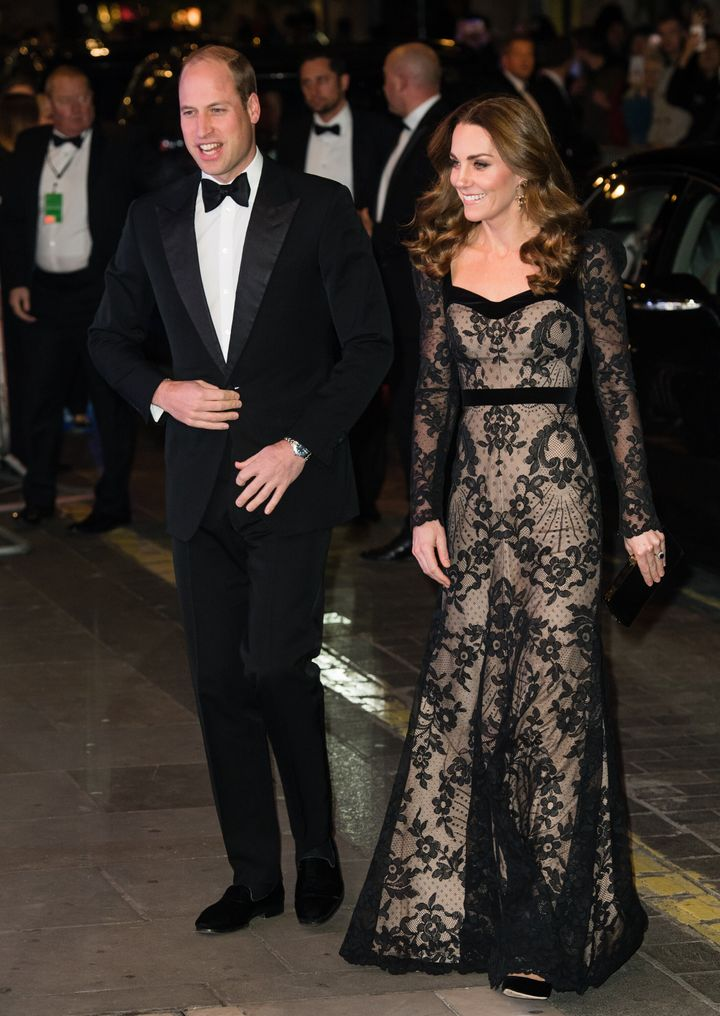 The Duke and Duchess of Cambridge attend the Royal Variety Performance at the London Palladium theater on Monday.