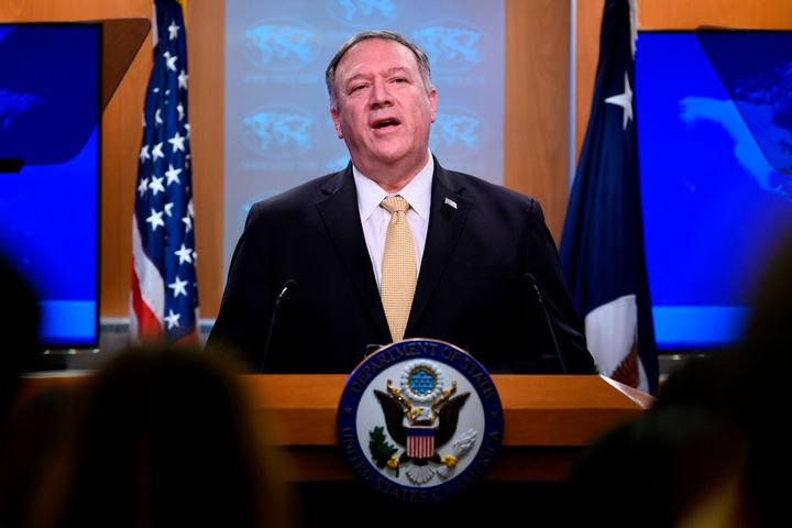 US Secretary of State Mike Pompeo makes a statement during a press conference at the US Department of State in Washington, DC