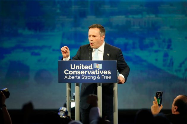 United Conservative Party leader Jason Kenney address supporters Calgary on Apr. 16,