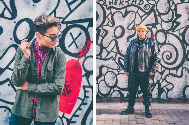 Streetwear looks modeled by Mariana, left, and Jeaux, right.