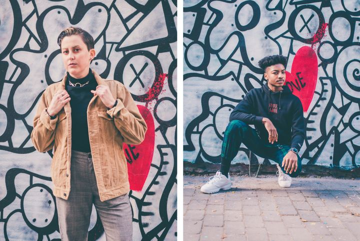 Streetwear looks modeled by Shelly, left, and Ethan, right.
