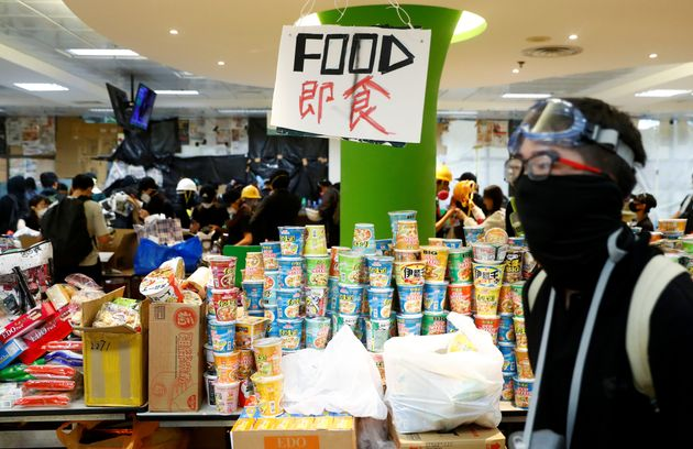 Food and other supplies for protesters are seen at the Polytechnic University in Hong Kong on Nov. 14,