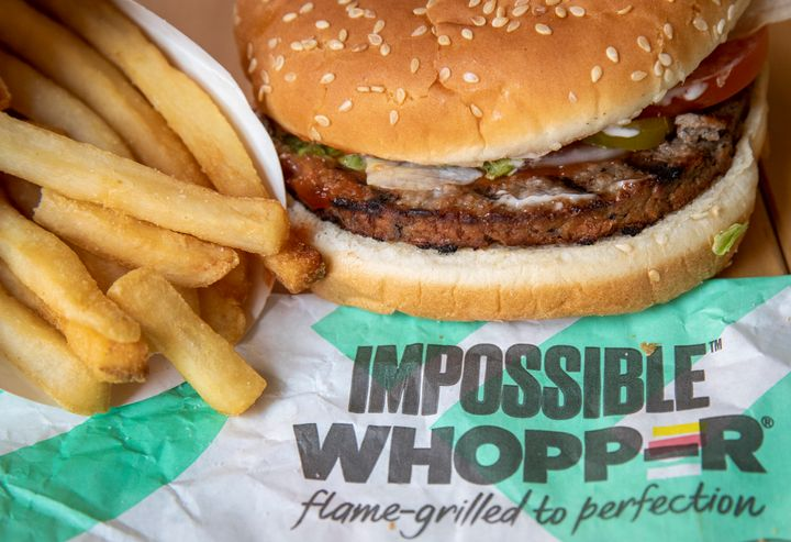 NEW YORK, NY - AUGUST 8: In this photo illustration, the new Impossible Whopper sits on a table on August 8, 2019 in the Brooklyn borough of  New York City. On Thursday, Burger King is launching its soy-based Impossible Whopper at locations nationwide. The meatless patties are produced by California tech startup Impossible Foods. A single Impossible Whopper sandwich costs $5.99. (Photo by Drew Angerer/Getty Images)