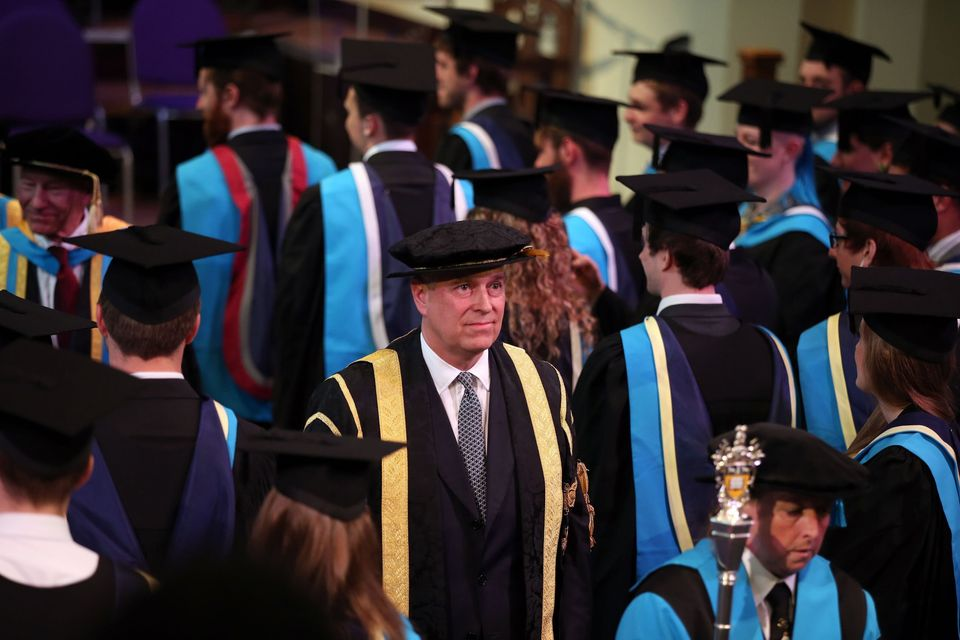 The Duke of York meets students during a graduation ceremony at Huddersfield