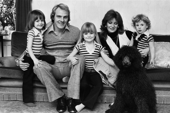 Gabby Logan pictured with parentsTerry Yorath and Christine Yorath, alongside sister Louise and brother Daniel.