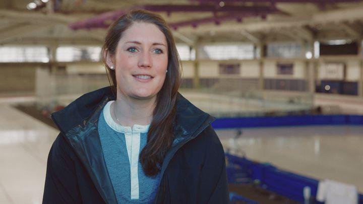 La patineuse de vitesse Anastasia Bucsis(image tirée du documentaire «Franchir la ligne»)