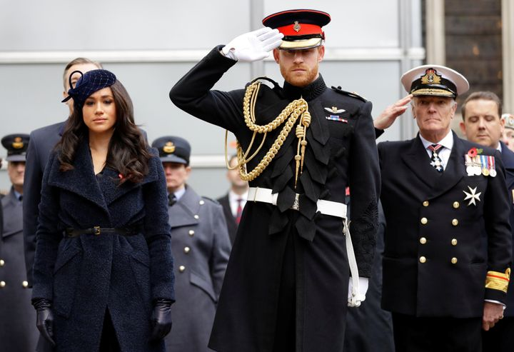 Prince Harry and the Duchess of Sussex visit the 91st Field of Remembrance at Westminster Abbey in London on Nov. 7.
