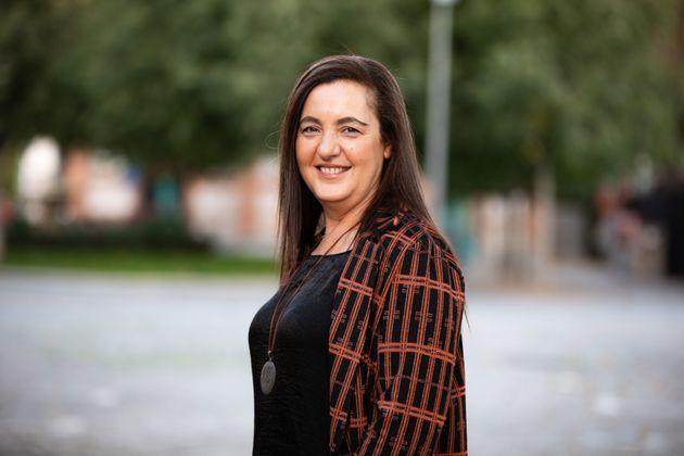 La escritora y reportera Nuria Varela en Madrid tras su entrevista con El