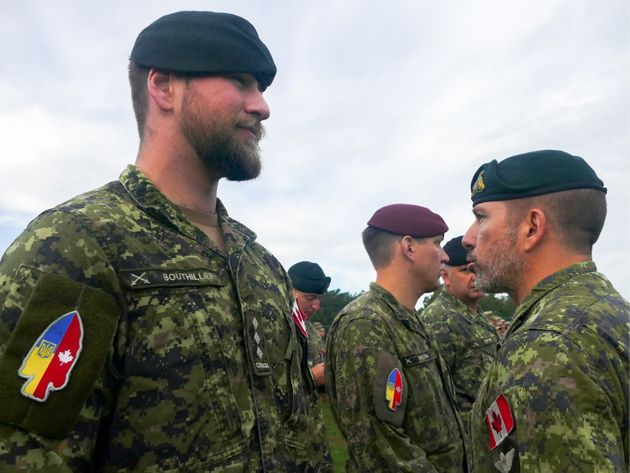 Canadian forces at a ceremony to start the Rapid Trident 2019 multinational military exercise in Ukraine on Sept. 16, 2019