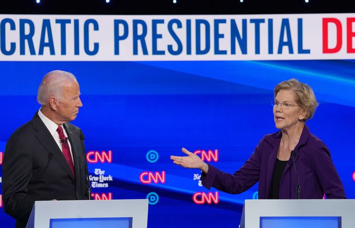 Sen. Elizabeth Warren and former Vice President Joe Biden at the fourth Democratic presidential candidates debate in Westervi